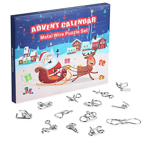 KOHMUI Adventskalender 2020, 24 Knobelei aus Metall, Spannende Knobeltricks und Knifflige Denksportaufgaben Rätsels, Kinder Junge Mädchen Teenager Weihnachten Überraschung Herausforderung Geschenk
