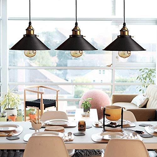 Rétro 3 Luminaires Suspension Industrielle E27-Ø22 cm, Métal Lustre Abat-jour plafonnier...