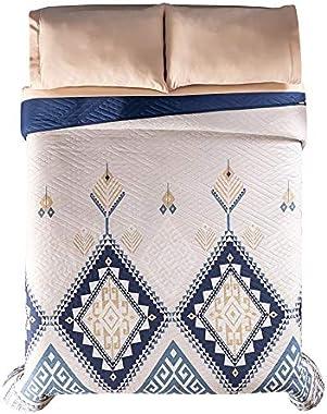 Edredón Ultra Delgado Matrimonial o King Size Novo Tonala Doble Vista Azul Beige Vintage (Matrimonial)