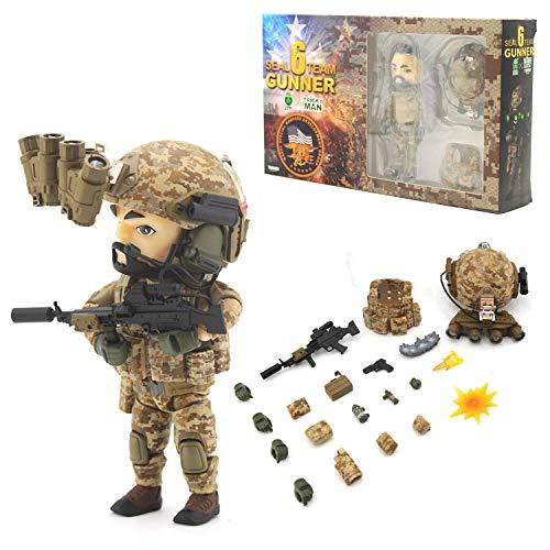 Seal Team 6 Division | Tricky Man Gunner | Militär Figur Paintball Softair Military | Spezialeinheiten Army Spielfigur | 12 cm groß Special Forces Seal Team 6