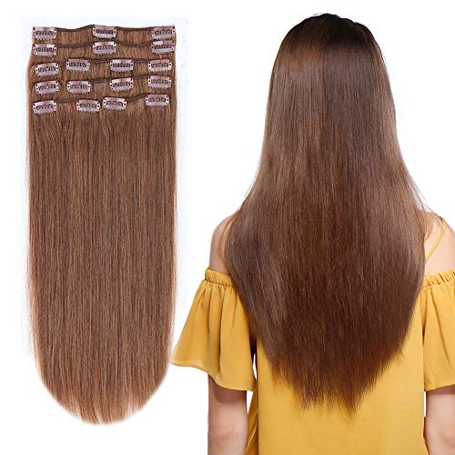 12-22inch Clip in Remy Human Hair Extensions Grade 7A Thick to End Full Head Natural Hair Long Straight 8 Pieces 18clips 95g 16'-18'', 6 Light Brown