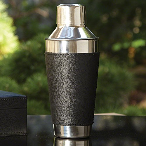 Luxe Leather Chrome Cocktail Shaker | Bar Mixer Strainer Black Silver Lid Retro