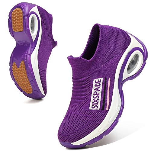 Sixspace Damen Sneaker Turnschuhe Atmungsaktiv Laufschuhe Leichtgewichts Walkingschuhe Sportschuhe Freizeitschuhe Straßenlaufschuhe Trainer für Outdoor Fitness Gym(Violett,39 EU)