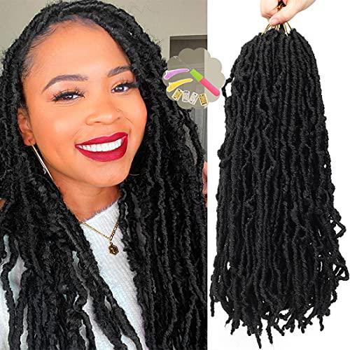 Youngther 18 Inch Nu Faux Locs Crochet Hair Curly Wavy Nu Soft Locs Crochet Hair 6 Packs Goddess Locs Crochet Hair for Women(18inch,1B#)
