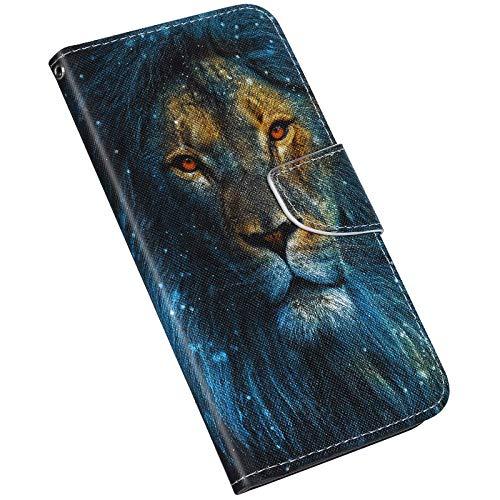 wanhonghui Funda Compatible con Samsung Galaxy A21S Funda Pintada 3D Patrón Colorido Escudo protector Cartera Plegable Libro Funda Teléfono Móvil carcasa Magnética con Tapa, León