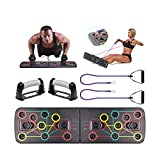 Thymeflower Hommes Push Up Board System Portable Tout-en-Un Body Building Stands Board Femmes Multifonctionnel Push-Up Fitness Board Power Press Gym Exercise Stands Système de Formation