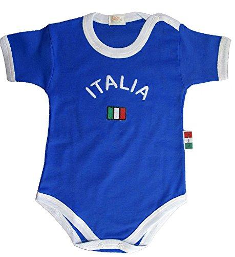 Zigozago - Body Bèbè à Manches Courtes pour bébé avec Broderie Italie Bleu Taille: 18-24 Mois - Couleur: Bleu - 100% Coton