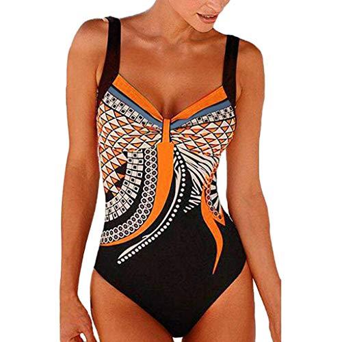 Posional Bikini de Plage Femme Une pièce Halter V Back Dos Nu ImpriméRembourré Taille Haute Amincissant Slim Vintage Expert Sport Shorty Chic Natation Piscine - Orange - EU 42