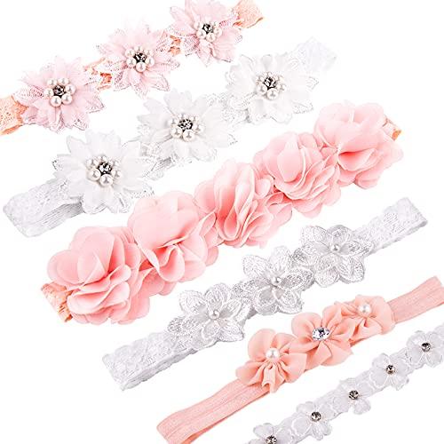 KONUNUS 6 Stück Babystirnband Satinband Mädchen elastisches Stirnband Mädchen Haarband Babyzubehör Haarschmuck geeignet für Geschenke und Partys