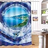 Wasserdichter Vorhang Anti-Schimmel- / Polyester- / Dickere Duschvorhänge Küchen-Badezimmer-Trennvorhang, E-S, 165 * 180cm