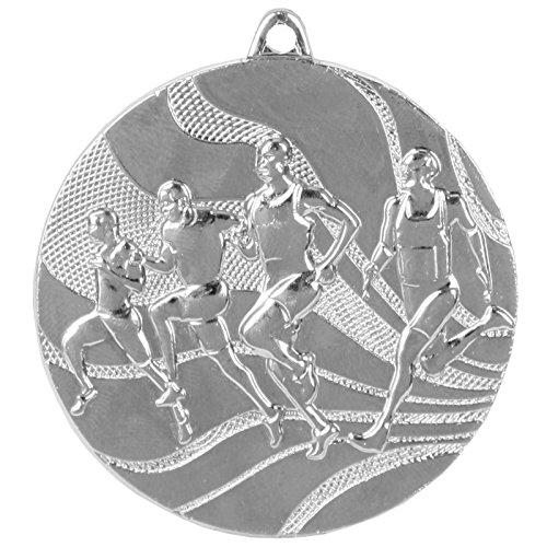 pokalspezialist 10 Stück Medaille Silber Laufen/Leichtathletik aus Stahl, 50 mm x 3 mm MMC2350
