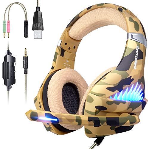 Gaming Kopfhörer für PS4, PC, Xbox One,Super Komfortable Stereo Bass 3.5mm Tarnung Kopfhörer mit Mikrofon für Pc, Ps4,Xbox One, Laptops, Mac, Tablet und Smartphone,(Over-Ear- und LED-Beleuchtung)