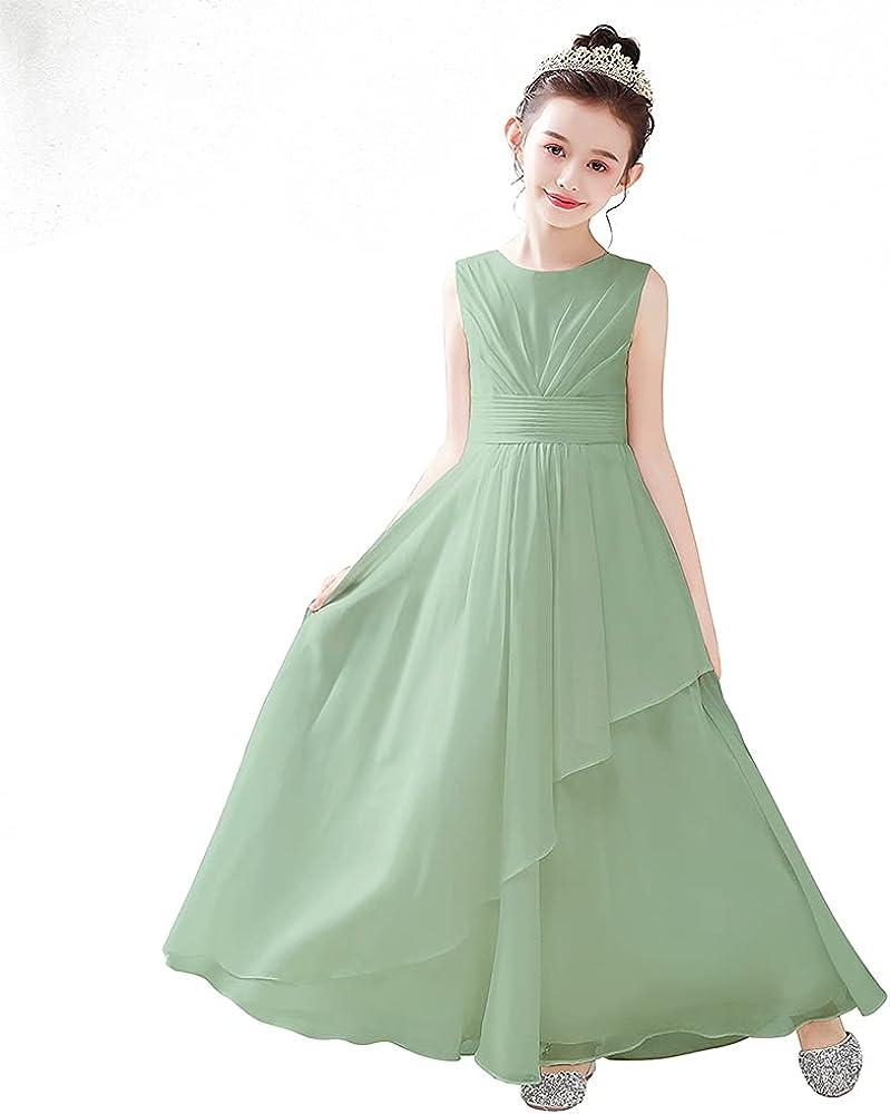 Chiffon Flower Girl Dresses Wedding Junior Bridesmaid Evening Party Girls Formal Princess Pageant Gown