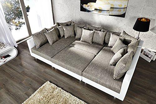 Großes Design Sofa LOFT XXL weiß grau Strukturstoff inklusive Hocker - 5