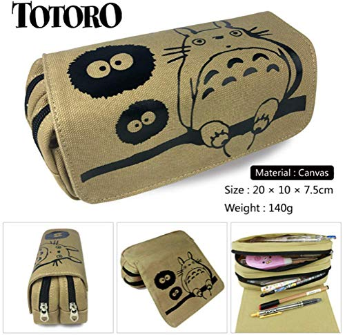 EOLIURR 1 Pcs Newest Khaki Totoro Large Big Capacity Canvas Double Zipper Anime Cartoon Animal Pen Bag Pencil Case Game Cosmetic Makeup Pouch Stationery Office School Supplies Holder Set