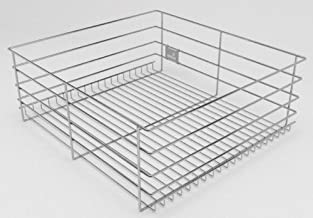 Hettich CargoTech Zinc Finish Stainless Steel Plain Multipurpose Wire Basket for Modular Kitchen without Partition (20X21X8-Inches)