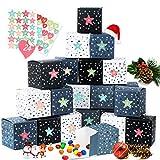 Zaloife Cajas de Regalo Navidad Calendario de Adviento, 24 Cajas de Calendario con 24 Pegatinas Adhesivos Digitales de Adviento, para Navidad, Fiesta, Decoración de Regalos