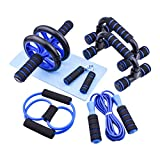 Suler AB Wheel Workout Abdomen Muscle Equipment 7 in 1 Combination Abdominal Grips Rope Skipping Rope Tension Roller...