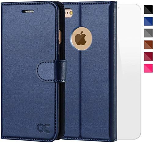 OCASE iPhone 6 Hülle, iPhone 6S Hülle [Frei gehärteter Glasschirmbeschützer inbegriffen] Leder Brieftasche Hülle für iPhone 6 / 6S Geräte Blau