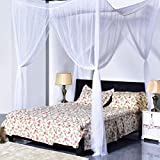 APS Choice Mosquito Net White 4 Corner Post Bed Canopy, Quick and Easy
