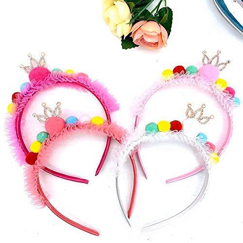 Cerceau à cheveux 4 Pcs Mignon Multicolore Boule De Cheveux Oreille Bandeau Double Grand Lumineux Coloré Strass Boule Fille Hairband Chat Oreilles