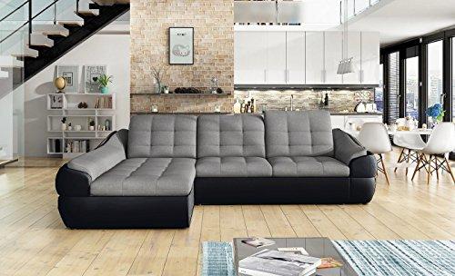 Ecksofa INFINITY MINI mit Schlaffunktion Sofa Couch Schlafsofa Polsterecke Bettfunktion (ottomane links, kunstleder schwarz / stoff INARI 91)