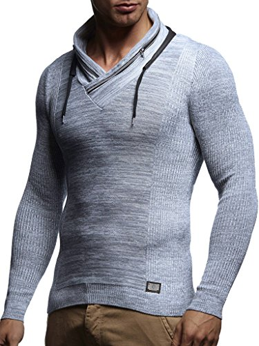 Leif Nelson Men's Knitted Pullover Hoodie Sweatshirt Long Sleeve Sweater Slim Fit LN1585; Medium, Ecru-Gray