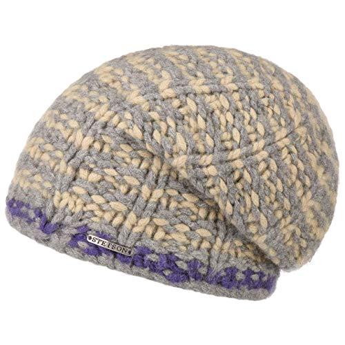 Stetson Mütze Strickmütze Layton Cashmere Beanie Damen/Herren - Oversize Herbst-Winter - One Size beige-grau