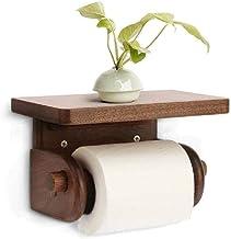 XYZMDJ toiletrolhouder - toiletrolhouder, stijl rolpapierhouder, badkameraccessoires wandhouder plank, massief hout (kleu...
