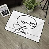 HRoomDecor Paillasson Humoristique Motif Visage de Troll avec Expression cynique Oh Crap, Image Amusante imprimée, imperméable Noir et Blanc 24'x35'(W60cm x L90cm) Style 15