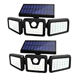 Solar Lights Outdoor, Sonata 3 Adjustable Heads Solar Powered Outdoor Lights, 800LM 6000K Solar Motion Sensor Light Outdoor, IP65 Waterproof, Wide Angle Illumination for Garage, Garden