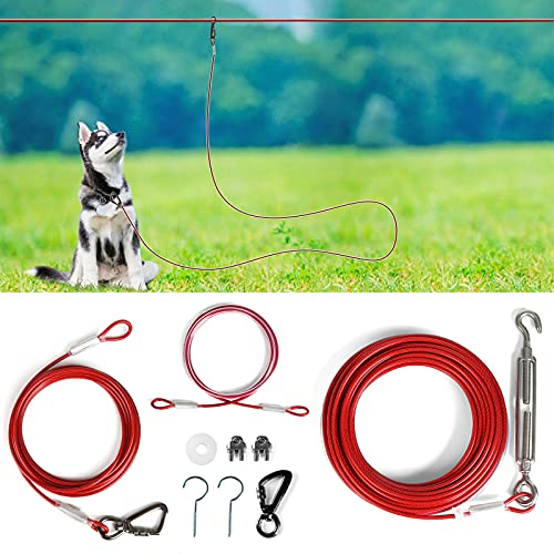 XiaZ Dog Tie Out Cable 50FT, Dog Aerial Run Lead for Large Dogs up to 120lbs, Heavy Duty Dog Runner for Yard, Camping, Outdoor, with 15 Ft Dog Running Lead, Cable Sling to Protect Trees