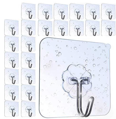 AOMEES Adhesive Hooks (24 Pack) Heavy Duty Wall Hooks 8kg (Max) Self Adhesive Hook