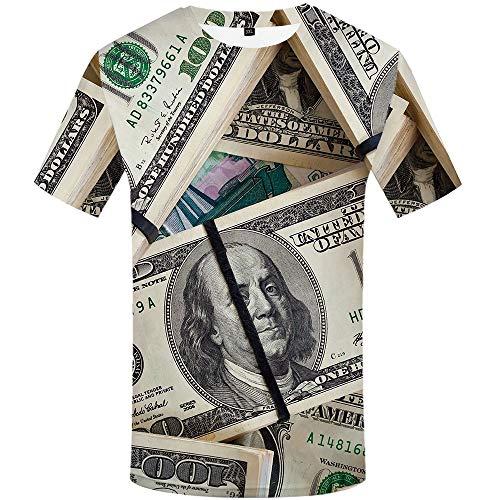 KYKU Men's Money Graphics All Over 3D Print Novelty Crew Neck Short Sleeve Shirt (Large, Money T Shirt)