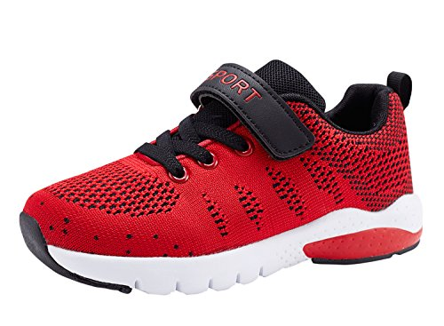 MAYZERO Kids Tennis Shoes Breathable Athletic Shoes Walking Running Shoes Fashion Sneakers for Boys Girls Red