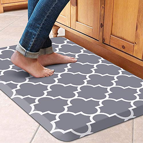 WiseLife Kitchen Mat Cushioned Anti-Fatigue Kitchen Rug,17.3'x 28',Non Slip Waterproof Kitchen Mats and Rugs Heavy Duty PVC Ergonomic Comfort Mat for Kitchen, Floor Home, Office, Sink, Laundry , Grey