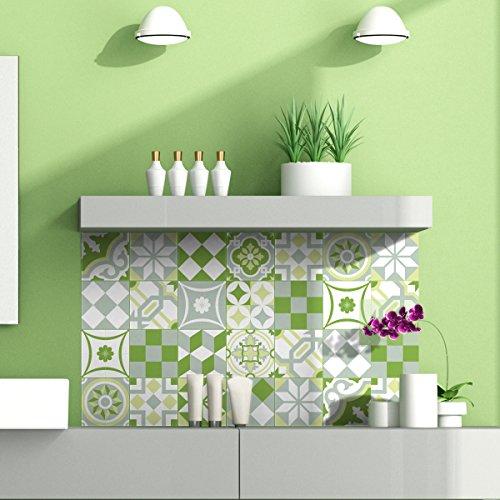 24 stickers tegels, zelfklevende tegels, mozaïektegels, wandtattoo, badkamer en keuken, tegellijm, patchwork, groen, 10 x 10 cm, 24-delig