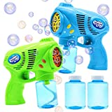 JOYIN 2 Bubble Guns with 2 Bottles Bubble Refill Solution (10 oz...