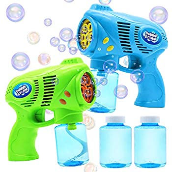 JOYIN 2 Bubble Guns with 2 Bottles Bubble Refill Solution  10 oz Total  for Kids Bubble Blower for Bubble Blaster Party Favors Summer Toy Outdoors Activity Easter Birthday Gift