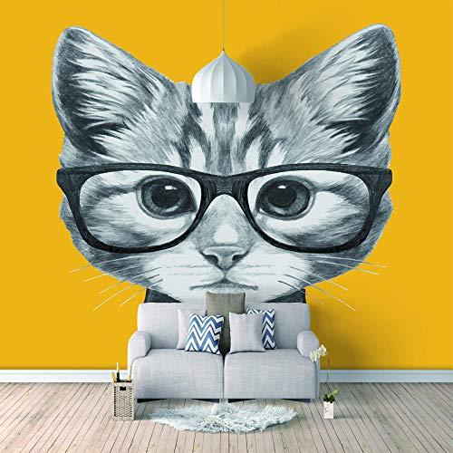 Fotomurales papel de pared 3d Gafas gato no tejido moderna Fotográfico Diseno TV Fondo grandes salones Hogar decorativos -400X280 cm (157 * 110 pulgadas)