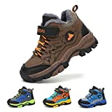 Kids Snow Boots Hiking Shoes Winter Warm Anti-Slip Ankle Support Camping Walking Trekking Sneakers for Boys Outdoor Waterproof Blue Brown Green 11.5-7UK BR-35