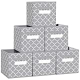"""FabTotes Storage Bins 6 Pack Collapsible Storage Cubes, 11""""x10.5""""x10.5"""" Large Toy Book Organizer Boxes with Handles and Label Card & Label Holder, Baskets for Organizing Closet Shelves (Light Grey)"""