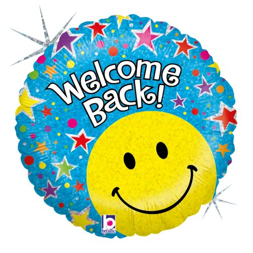 Betallic F86691P - Folienballon 18 Zoll - Welcome Back Smiley, holografisch