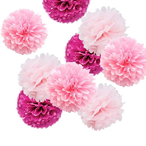 Fonder Mols 9pcs Party Flowers Pom Poms Kit - Light Pink, Pink & Fuchsia - Large for Valentine's Day Wedding Birthday Party Decoration