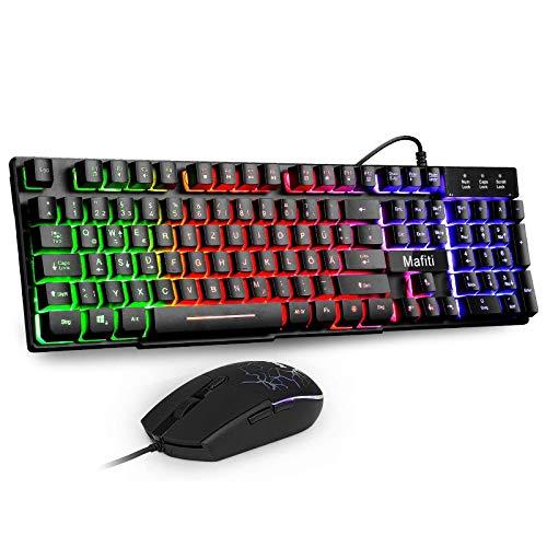 Mafiti Gaming Tastatur und Maus Set, Kabelgebundenes Tastatur-Maus-Set, LED Hintergrundbeleuchtung QWERTZ (DE-Layout), Regenbogen Farben Beleuchtetung Tastatur und Maus für Gaming und Büro