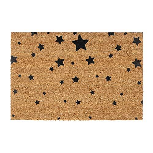 Relaxdays Felpudo para la Entrada del hogar, Patrones de Estrellas, 40 x 60 cm, Fibra de Coco y PVC, Antideslizante, Color Negro, Tela, Gris, 1,5 x 60 x 40 cm 🔥