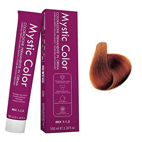 Mystic Color - Crème Colorante Permanente à l'Huile d'Argan et au Calendula - Coloration Longue Durée - Couleur pour Cheveux Blonds Cuivrés Dorés 7.43 - 100ml