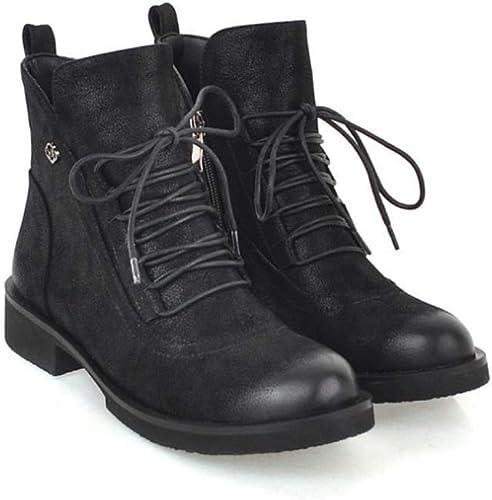 HYLFF Martin Bottes en Cuir imperméable Classique Lacet Court Bottine Dames Casual Confortables Chaussures Basses Classiques Chelsea Bottines,noir,38EU