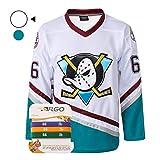 AFLGO Bombay #66 Mighty Ducks - Muñequeras de hockey sobre hielo -  Blanco -  X-Large