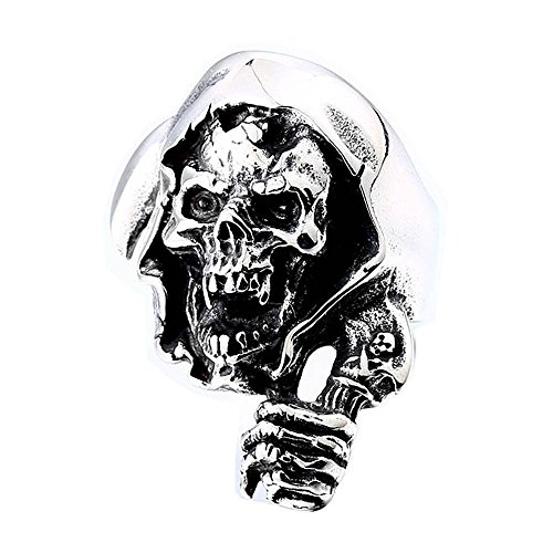ZMY Fashion Gothic Stainless Steel Jewelry, New Skull Grim Reaper Ring for Men (12)
